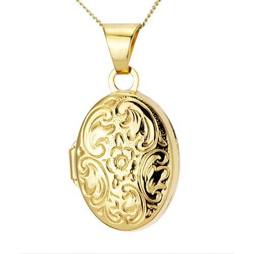 9ct Yellow Gold Oval Locket Fully Engraved, 13mm, 46cm Chain