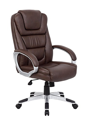 Boss Executive Leatherplus Chair Bomber Brown/Without Knee T