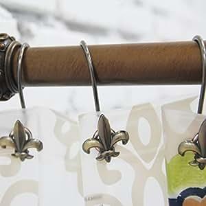 Pack of 12 bathroom metal shower curtain decorative hooks ancient style fleur de lis - Fleur de lis shower curtain hooks ...