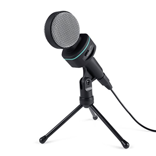 AUKEY Condenser Microphone, Bidirectional Condenser Mic with XLR Female to 3.5mm Male Cable, Volume Control and Tripod Stand for Desktop Computers