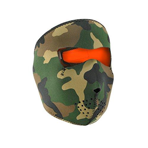 Zan Headgear WNFM118HV, Full Mask, Neoprene, Woodland Camo Reverses to High-Visibility Orange