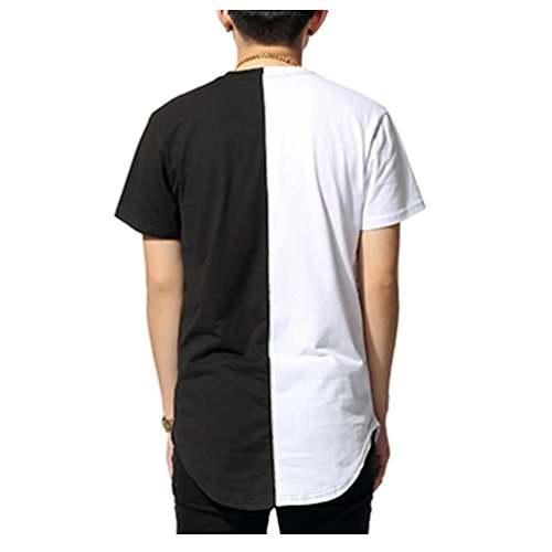 Pizoff unisex hister short sleeve crew neck contrast split for Extra long dress shirts