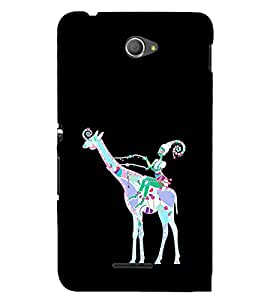 EPICCASE girl riding giraffe Mobile Back Case Cover For Sony Xperia E4 (Designer Case)