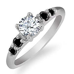 0.78 Ct Round White Topaz Black Diamond 925 Sterling Silver Ring