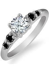 0.78 Ct Round White Topaz Black Diamond 925 Sterling Silver Ring