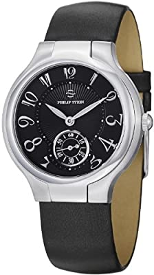 Philip Stein Signature Round Black Satin Leather Strap Black Dial Watch 41-FB-IB