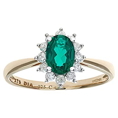 Ariel Round Brilliant 0.25ct Emerald and Diamond 9ct Oval Cluster Ring