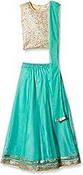 Atayant Girl Lehenga Choli (ATAYK_012_3:4YR_Gold:Turquoise_M)