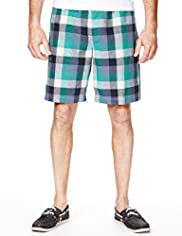 North Coast Linen Blend Checked Pyjama Shorts