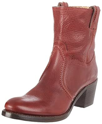 FRYE Women's Jane Trapunto Ankle Boot, Burnt Red, 7.5 M US
