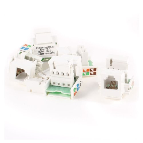 uxcell 5 Pcs Snap in RJ11 4P4C Telephone Modular Jack Socket Module White (Phone Module compare prices)