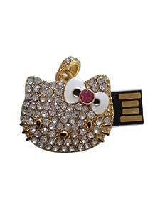 Clé USB clé Mémoire USB flash 8GO -BIJOU PENDENTIF ,tête de chatton doré