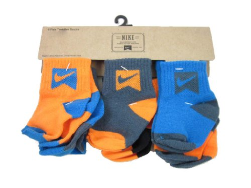 Nike Toddler Baby Socks Blue Gray Orange (6-12 Months)