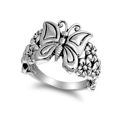 Butterfly and Plumeria Ring in Sterling Silver for Girls - Size 5