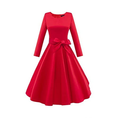 LUOUSE Audrey Hepburn 3/4 Sleeve 1950s Vintage Rockabilly Dress