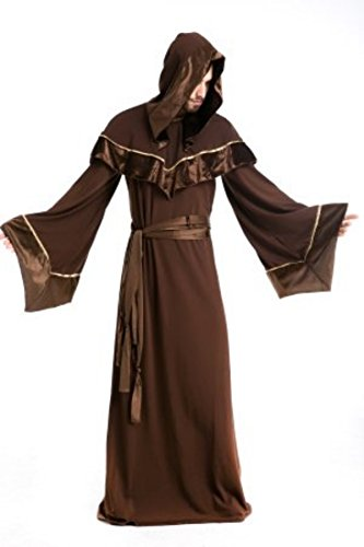 [Skydue Medieval Monks Priest Wizard Robe Halloween Sorcerer Costume (X-Large)] (Priest Halloween Costume Deluxe)