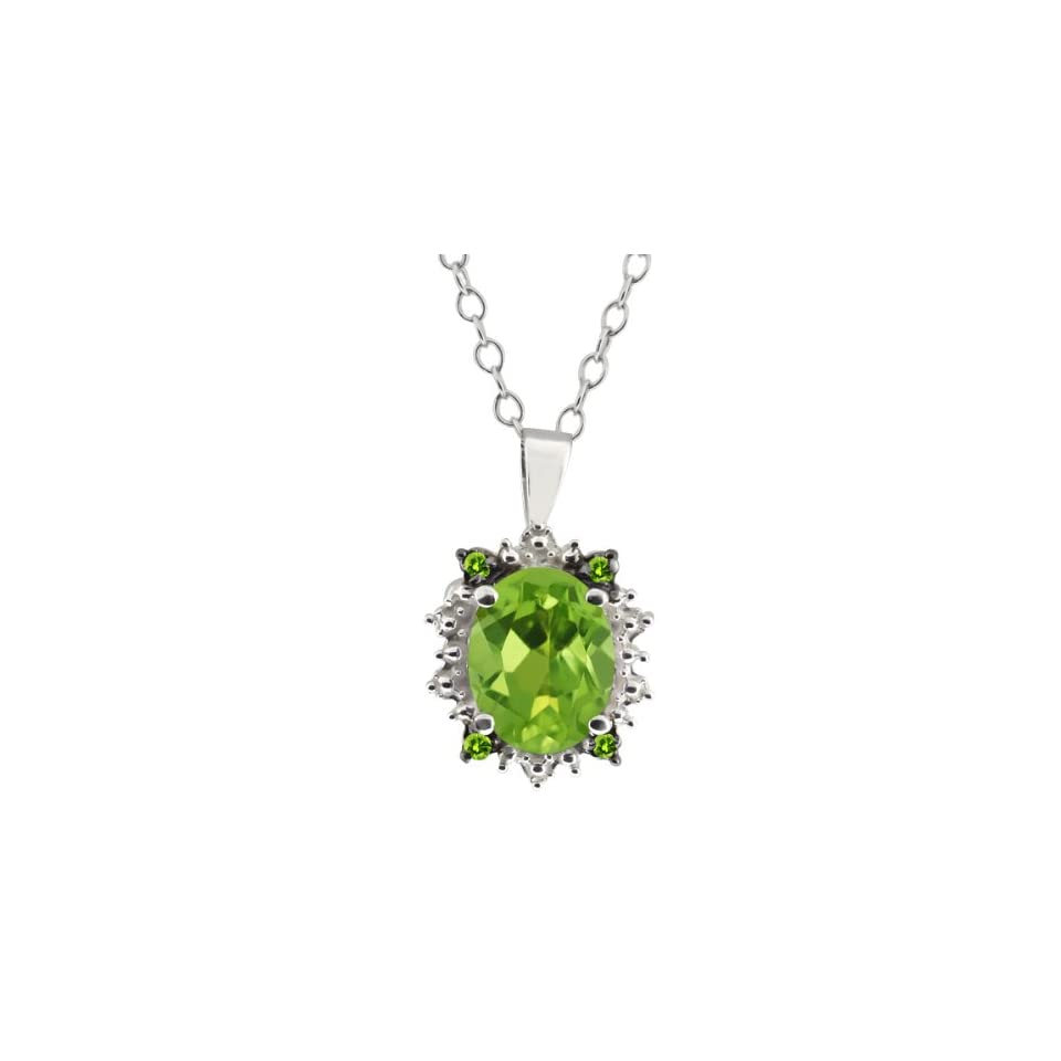 1.38 Ct Genuine Oval Green Peridot Gemstone Sterling Silver Pendant