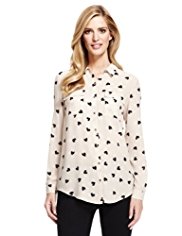 M&S Collection No Peep™ Twin Pockets Heart Print Blouse