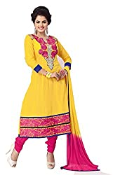 Govardhan Fashion yellow and pink cottan Unstitched Dress Material