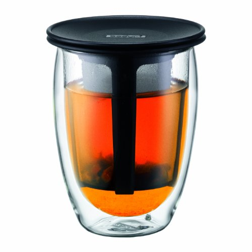 Bodum Tea For One Double 0.35-Liter Wall Glass Tea Strainer, 12-Ounce, Red
