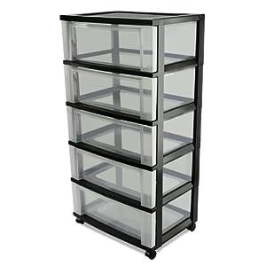 iris 5 drawer wide rolling cart black storage drawer units. Black Bedroom Furniture Sets. Home Design Ideas