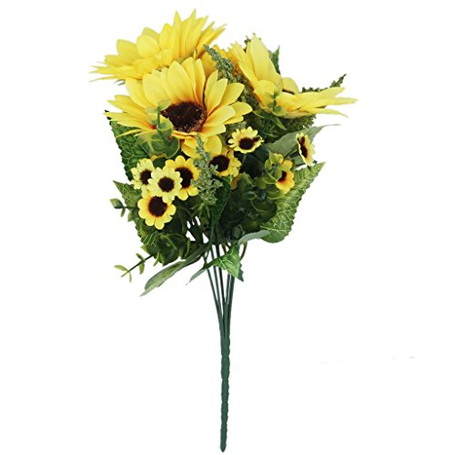 1 Piece Artificial Simulation Sunflower Plant with 18 Flower heads Decoration - black
