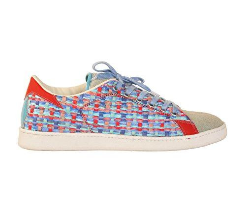 Scarpe Sneakers L4K3 LAKE Unisex STAN Raffia BLU / ROSSO Lino (40 EU)