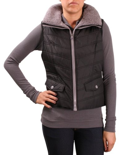 Kenneth Cole Reaction Women's Faux Down Vest Sherpa Lining