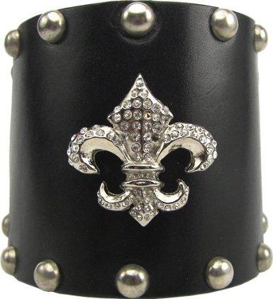 Wide Leather Swarovski Crystal Fleur Di Lis Cuff Bracelet (White Cuff)