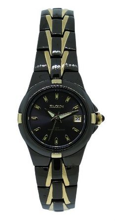 エルジン Elgin EG158N Women's Black Analog Round Date Two Tone Bracelet Style Watch 女性 レディース 腕時計 【並行輸入品】