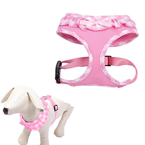 Checkered Frills Fashion Pet Dog Cat Harness Adjustable Pink M (Girl Dog Harness compare prices)