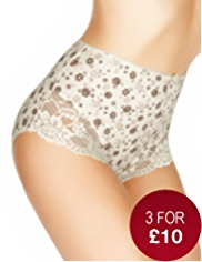 Cotton Rich Lace Cuffed Floral Full Briefs