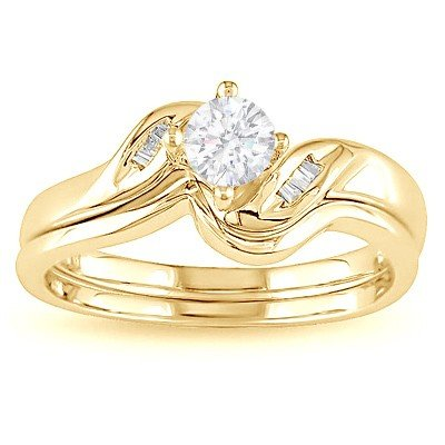 0.58 Carat Diamond Bridal Sets Round Cut Diamond on 14K Yellow gold
