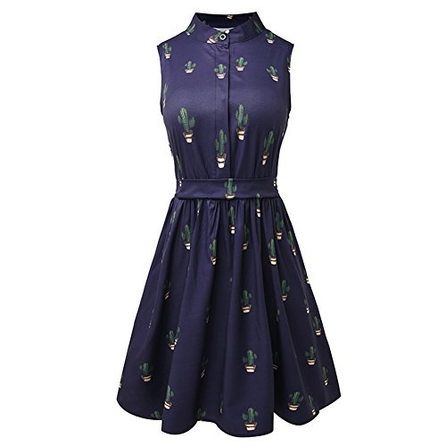 women-summer-a-line-dress-cactus-printing-dresses-m-navy-blue