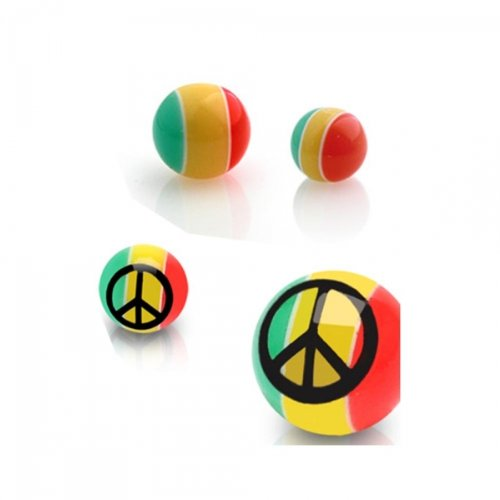 Urban Body Jewellery Pack of 4 UV Acrylic Peace 1.6mm Threaded Colour Balls