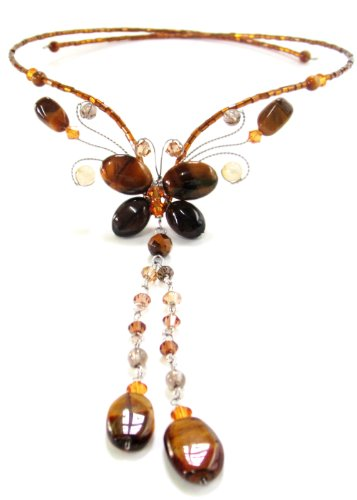MGD, Genuine Tiger Eye Y Necklace, 'Butterfly In The Farm'
