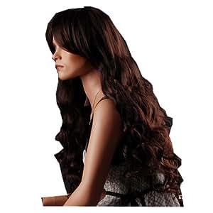 SexyWaist long hair Dark Brown Curly Big Waves side swept