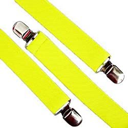 Bright Neon Suspenders (Various Colors), Neon Yellow