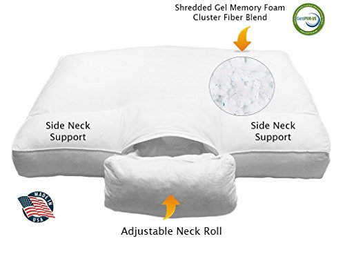 Adjustable Neck Support (ANS) Cervical Bed Pillow, Unique Shredded Gel Memory Foam Cluster Fiber Blend with Coolmax® Custom Fit Pillowcase, USA Made - Queen