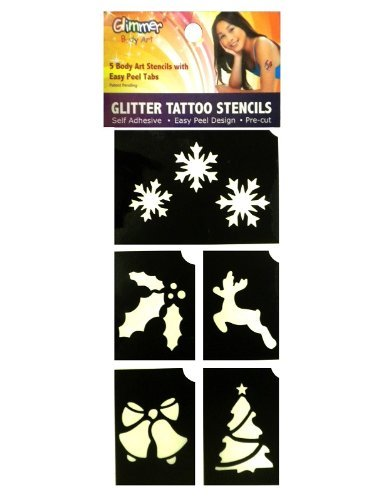 Christmas Holiday Glitter Tattoo Stencil Set Party Accessory - 1