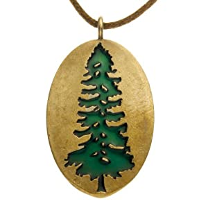 Ancient Redwood Green Enamel Pendant Necklace on Adjustable Natural Fiber Cord