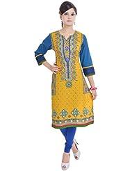 Shop Rajasthan Women's Cotton Self Design, Printed 3/4 Sleeve Kurti