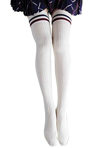 Jelinda-Frauen-Mdchen-Strick-hkeln-ber-Knie-Schenkel-hoch-Strmpfe-Socken