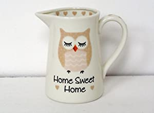 Ceramic Owl Cream Kitchen Jug Gift With Special Message - Home Sweet Home