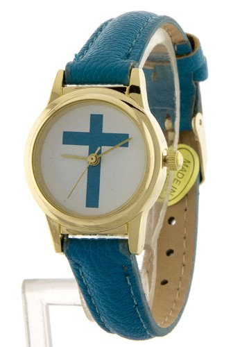 Bejewled Jewellery Skinny Small Watch With Cross Print (White)