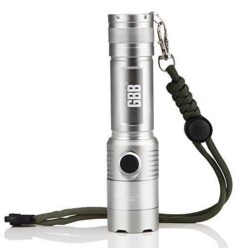 GBB Zoomable della torcia elettrica, portatile impermeabile luminosa eccellente Max 1000 lumen 5 modalità di illuminazione a LED tattica di emergenza portatile della torcia elettrica Portata fino a 250 metri  - Grigio