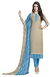 Khoobee Presents South Cotton Dress Material(Beige,Blue)