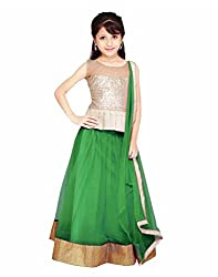 Surat Tex Green Color Party Wear Semi-Stitched Embroidered Soft net Lehenga Choli With Heavy Designer Brocket Top-J349LA5