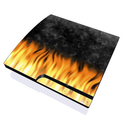 BBQ Flames Design Skin Decal Sticker for the PS3 Slim