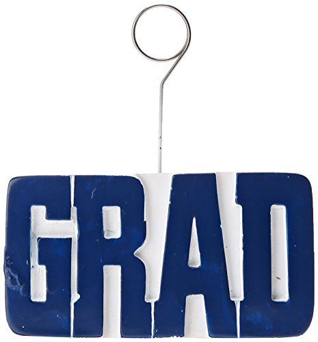 GRAD Photo/Balloon Holder (blue) Party Accessory  (1 count)